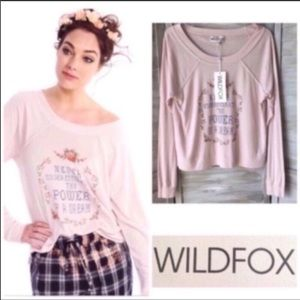 WILDFOX Dream Raglan Needlepoint Graphic Tee New